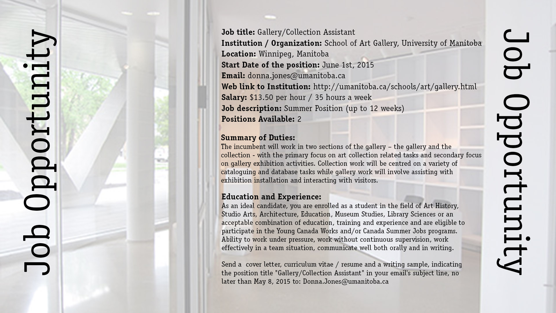 Job Opportunities – SOA Gallery – Gallery Assistant Positions ...