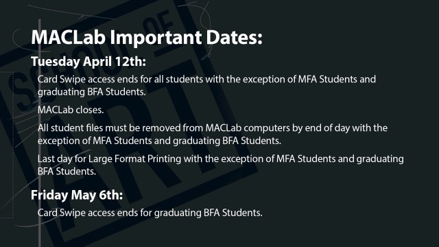MacLab Key Dates