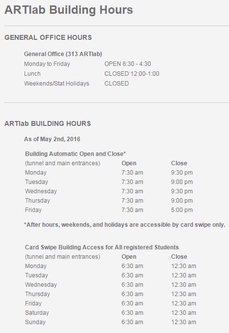 artlab hours